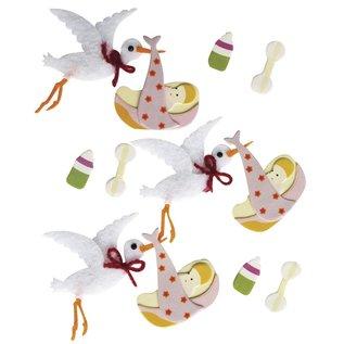 Embellishments / Verzierungen 3D Deko-Sticker: Baby, Storch, mit Klebepunkt, 12 Stück