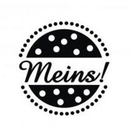 """Stempel / Stamp: Holz / Wood Madeira mini-selo com palavras alemãs """"meu"""", 2 centímetros ø"""