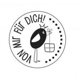 """Stempel / Stamp: Holz / Wood holze Mini-Stempel mit deutsche Text """"von mir für dich"""" , 2cm ø"""