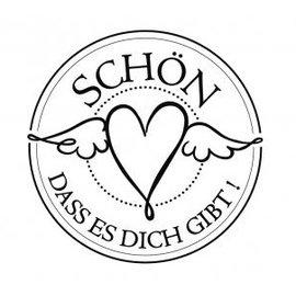 """Stempel / Stamp: Holz / Wood mini-selo Holze com texto alemão """"bom que você está lá"""", diâmetro de 3 centímetros"""