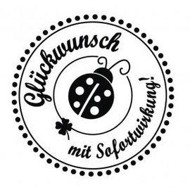 """Stempel / Stamp: Holz / Wood mini-selo Holze com alemães texto """"Parabéns, com efeito imediato"""", diâmetro 3 centímetros"""
