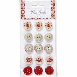 Embellishments / Verzierungen 15 Designer Knoppen, Wooden Buttons met 2 gaten en prenten