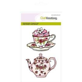 """Crealies und CraftEmotions Gennemsigtige frimærker A6, tekande, kop og underkop """"High Tea Rose"""""""