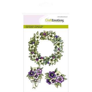 """Crealies und CraftEmotions Håndværk Emotions Transparente frimærker A6, delikatesse """"blomsterkrans Purple Holiday"""""""