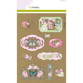Stempel / Stamp: Transparent Ambachtelijke Emoties Kraft papier ontwerp Botanische 4 vellen A4