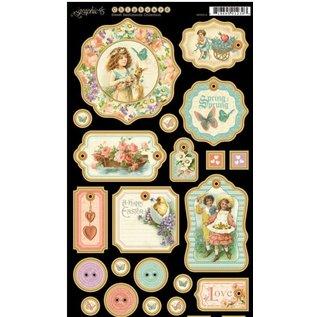 GRAPHIC 45 panneaux de particules, pièces estampées, Sweet Sentiments Collection