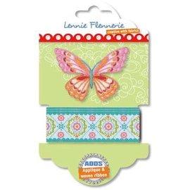 Textil Lennie Flennerie, fita de tecido borboleta e apliques