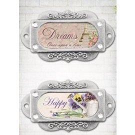 """Embellishments / Verzierungen Metalen frames, ornamenten, """"Franch Journal"""", 2 stuks"""