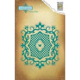 Nellie Snellen Vintasia reliëf en snijden sjabloon, romantische frame met Grid
