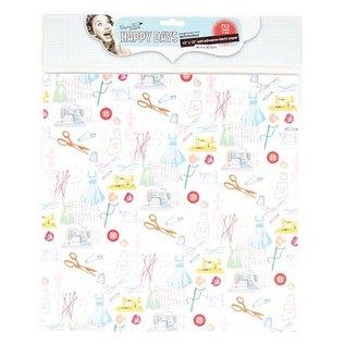 Textil Stoff auf Papier, selbstklebend, Happy Days, 30,5 x 30,5 cm
