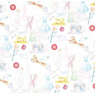 Textil Stof på papir, selvklæbende, Happy Days, 30,5 x 30,5 cm