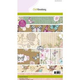 Crealies und CraftEmotions SONDERANGEBOT: Kraft Papierblock, Botanical Druck, 32 Bogen A5
