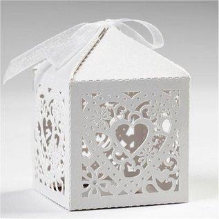 Dekoration Schachtel Gestalten / Boxe ... 12 Decorative Box, 5,3x5,3 cm, blanc, avec le coeur