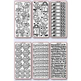 Sticker Stickerset: 6 différente sticker décoratif, Sujet: épouser, amour