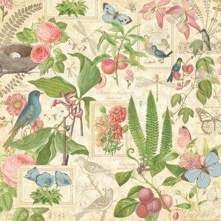 """GRAPHIC 45 Designer Paper """"de thé botanique - Printemps Duet"""", 30,5 x 30,5 cm"""