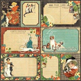 """GRAPHIC 45 Designer Paper """"Raining katte og hunde -Fire-Legged Friend"""", 30,5 x 30,5 cm"""