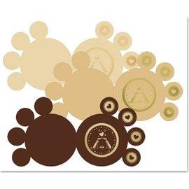 KARTEN und Zubehör / Cards 3 DeLuxe paws kort, guld-lamineret, brun, beige, creme