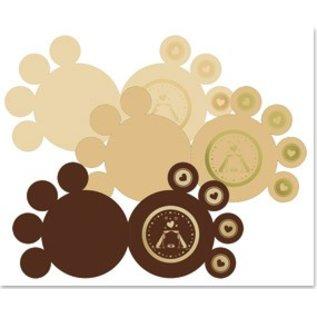 KARTEN und Zubehör / Cards 3 DeLuxe Pfotenkarten, gold-laminiert, braun, beige, creme