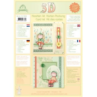 Leane Creatief - Lea'bilities Cartes avec enveloppes - kit 3D de Bambinie - vert / or