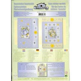 BASTELSETS / CRAFT KITS Kit di carta con pizzo e adesivi motivi floreali