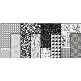 DESIGNER BLÖCKE / DESIGNER PAPER Decoupage Papier, Sortiment black and white, Blatt 25x35 cm, 8 sort. Blatt