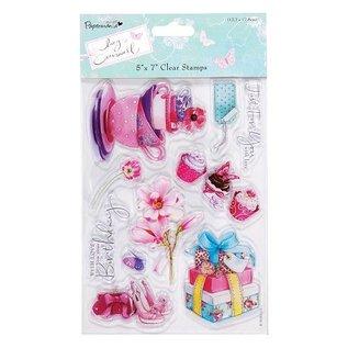 Stempel / Stamp: Transparent Transparent Stempel, Lucy Cromwell - Bunting, 10 Motive, Teacups und Blumen