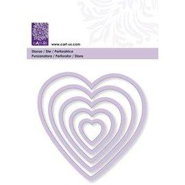 Cart-Us Corte modelo, corações, 5 tamanhos
