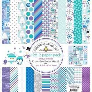 Designer Papier Scrapbooking: 30,5 x 30,5 cm Papier Designerblock, Papierblock, Doodlebug - Frosty Friends 30,5 x 30,5cm
