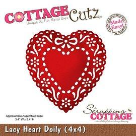 Cottage Cutz Estampagem e gravação stencil, Lacy Doily Coração (4x4), coração doily