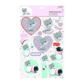 DECOUPAGE AND ACCESSOIRES A4 Decoupage pack - Little Meow - Amici