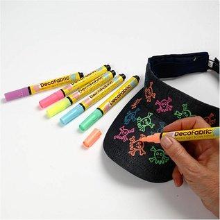 FARBE / STEMPELINK Deco Stoffmalstifte - Sortiment , 3 Strichstärke, neonfarben, 6 sort.