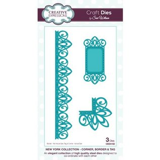 CREATIVE EXPRESSIONS und COUTURE CREATIONS Stamping and embossing stencil, New York Collection, Corner, Bordure and label