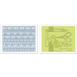Sizzix Sizzix, 2 Embossing Folder 11,43x14,61 cm, Sewing und Measuring Tape Set