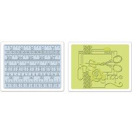 Sizzix Sizzix, 2 gaufrage dossier 11,43x14,61 cm, ruban à coudre et à mesurer
