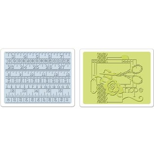 Sizzix 2 Embossing Folder 11,43x14,61 cm, Sewing und Measuring Tape Set