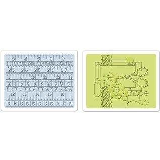 Sizzix 2 Embossing Folder 11,43x14,61 cm, syning og målebånd Set