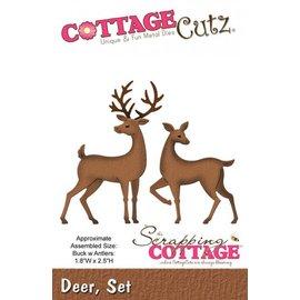 Cottage Cutz Stampaggio e goffratura Stencil, 2 renne Dimensione dell'immagine 4,6 x 6,4 centimetri