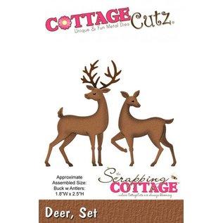 Cottage Cutz Stanz- und Prägeschablone, 2 Rentieren Motivgröße 4,6 x 6,4 cm