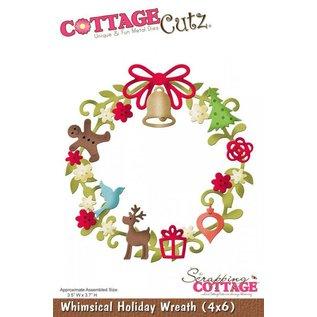 Cottage Cutz Stanz- und Prägeschablone,Weihnachtskranz Motiv Größe: 8,9 x 9,4 cm