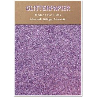 DESIGNER BLÖCKE / DESIGNER PAPER Glitter iriserende papier, formaat A4, 150 g / m², lila