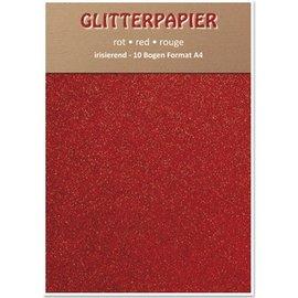 Karten und Scrapbooking Papier, Papier blöcke Glitterpapier irisierend, Format A4, 150 g / qm, rot