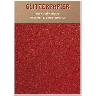 DESIGNER BLÖCKE / DESIGNER PAPER Glitter papier irisé, A4, 150 g / m², rouge