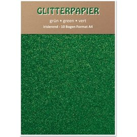 DESIGNER BLÖCKE / DESIGNER PAPER Glitter iriserende papir, A4-format, 150 g / kvm, grøn