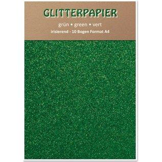 DESIGNER BLÖCKE / DESIGNER PAPER Glitterpapier irisierend, Format A4, 150 g / qm, grün