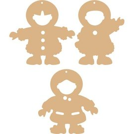 Objekten zum Dekorieren / objects for decorating 3 MDF Ornamente  Eskimos