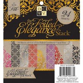 DCWV und Sugar Plum DCWV Designersblock, 24 folhas 15,2 x 15,2 cm decorados com papel alumínio.
