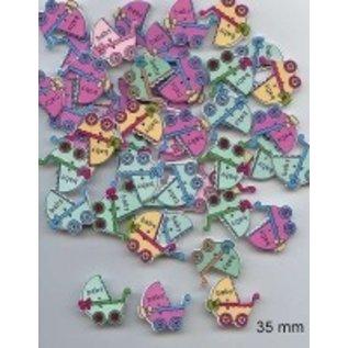 Embellishments / Verzierungen 6 boutons décoratifs 33 x 35 mm, design: bébé