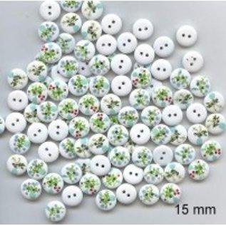 Embellishments / Verzierungen 10 dekorative knapper 15 mm Tema: Blomster