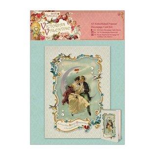 KARTEN und Zubehör / Cards A5 Embellished Indrammet Decoupage Card Kit - Victorian Valentine