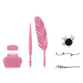 Marianne Design Gaufrage et le modèle + timbre, stylo, plume et encre de coupe